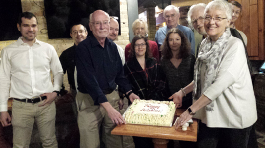 Some of our Solstice revellers with SOFREE's 2018 Solstice Cake